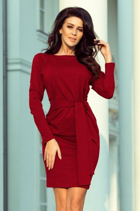 209 3 Sukienka z szerokim wiązanym PASKIEM BORDOWA